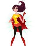 Bruine haar Super vrouw in rood kostuum (superhero) Stock Afbeelding