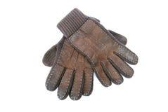 Bruine handschoenen die op wit worden geïsoleerda Royalty-vrije Stock Foto