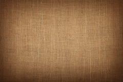 Bruine het canvasachtergrond van de jutejute met schaduw Stock Foto's
