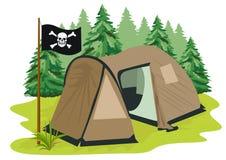 Bruine het kamperen tent met piraatvlag Stock Afbeelding
