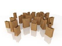 Bruine het winkelen zakken Stock Foto