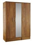 Bruine houten die garderobe op witte achtergrond wordt geïsoleerd Royalty-vrije Stock Fotografie