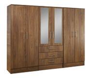 Bruine houten die garderobe op witte achtergrond wordt geïsoleerd Royalty-vrije Stock Foto