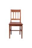 Bruine houten die stoel op wit wordt geïsoleerd Royalty-vrije Stock Fotografie