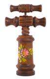 Bruine houten kurketrekker met ornament op wit Royalty-vrije Stock Afbeeldingen