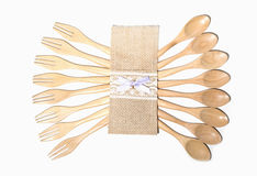 Bruine houten lepels en vork Royalty-vrije Stock Afbeeldingen