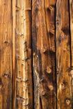 Bruine houten muur die van gelakte raad wordt gemaakt stock foto's