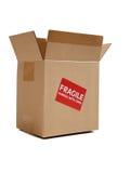 Bruine karton bewegende doos op wit Royalty-vrije Stock Foto's