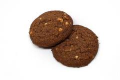 Bruine koekjes op geïsoleerde achtergrond Royalty-vrije Stock Foto's
