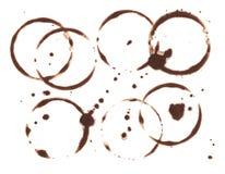 Bruine koffiecirkel op witte achtergrond Het zwarte element van het koffieontwerp Het natte kopteken en ploetert C stock illustratie