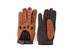 Bruine leerhandschoenen Stock Afbeelding
