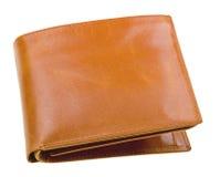 Bruine leerportefeuille die op wit wordt geïsoleerds Royalty-vrije Stock Foto