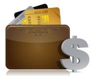 Bruine leerportefeuille met binnen creditcards stock illustratie
