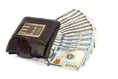 Bruine leerportefeuille met de dollar van de honderd V.S. Stock Fotografie