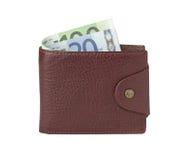 Bruine leerportefeuille met geld Stock Afbeelding