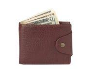 Bruine leerportefeuille met geld Stock Fotografie