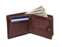 Bruine leerportefeuille met geld Royalty-vrije Stock Foto's