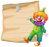 Bruine lege signage met een clown Stock Fotografie