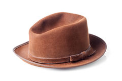 Bruine mannelijke vilten hoed die op wit wordt geïsoleerd Royalty-vrije Stock Fotografie