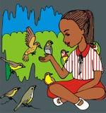 Bruine meisje en vogels Stock Afbeeldingen
