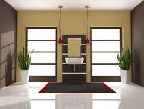Bruine minimale badkamers Stock Foto
