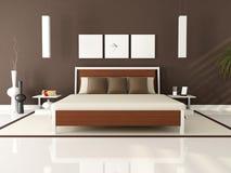 Bruine moderne slaapkamer Royalty-vrije Stock Fotografie