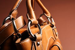 Bruine modieuze vrouwenzak Stock Afbeelding