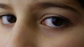 Bruine ogen van jonge jongen stock video