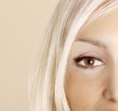 bruine oogclose-up Royalty-vrije Stock Afbeelding