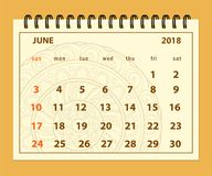 Bruine pagina Juni 2018 op mandalaachtergrond Royalty-vrije Stock Foto's
