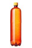 Bruine plastic fles die op wit wordt geïsoleerdi Stock Fotografie
