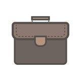 Bruine portefeuille met handvat Vlak pictogram Royalty-vrije Stock Afbeeldingen