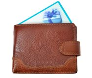 Bruine portefeuille met kortingskaart Royalty-vrije Stock Foto's