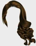 Bruine pruik van vrouwen de in lange krullende donkerbruine haren Retro stijl Royalty-vrije Stock Fotografie