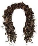 Bruine pruik van vrouwen de in lange krullende donkerbruine haren Retro stijl Stock Afbeeldingen