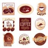 Bruine reeks emblemen voor koffie, vector illustratie