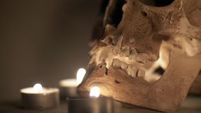 Bruine schedel in de cirkel van kaarsen, op een rokerige mistige achtergrond, Halloween-thema stock footage