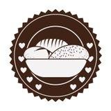 bruine sticker met broden in mand in rond kader stock illustratie