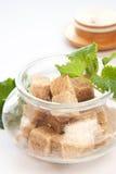 Bruine suiker in glaskom Royalty-vrije Stock Fotografie
