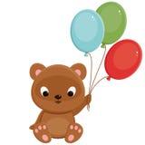 Bruine teddybeer met ballons Royalty-vrije Stock Afbeelding
