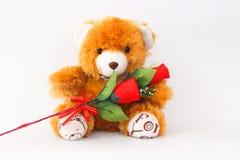 Bruine teddybeer op een witte achtergrond Stock Foto