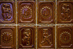 Bruine tegel saple Stock Foto
