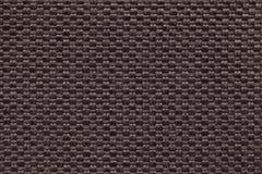 Bruine textielachtergrond met geruit patroon, close-up Structuur van de stoffenmacro Stock Foto