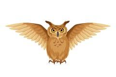 Bruine uil met open vleugels Vector illustratie Stock Afbeelding