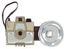 Bruine uitstekende camera met flits Royalty-vrije Stock Afbeeldingen
