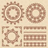 Bruine uitstekende ornamenten en kaders Royalty-vrije Stock Afbeeldingen