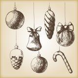 Bruine uitstekende schets - Kerstmishand getrokken ornamenten Stock Afbeeldingen
