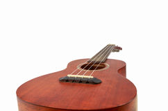 Bruine ukelele, Hawaiiaanse die gitaar, op witte achtergrond wordt geïsoleerd Stock Fotografie