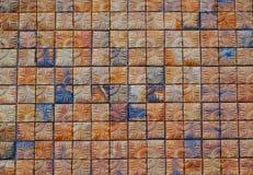 Bruine vierkante bakstenen muurachtergrond, abstracte achtergrond Royalty-vrije Stock Foto