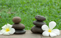 Bruine vlakke stenen in blance in de tuin Stock Foto